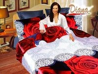 Rose, A Color Contrast of Red-Hot Roses and White Abstract Prints that Creates a Romantic and Inviting Décor by Diana, 6-PC Full-Queen Duvet Cover Set