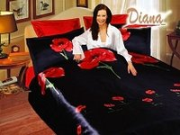 Weasel Black, Hot-Red Poppies on a Black Silky Base that Reverses to all Red by Diana, 6-PC Full-Queen Duvet Cover Set
