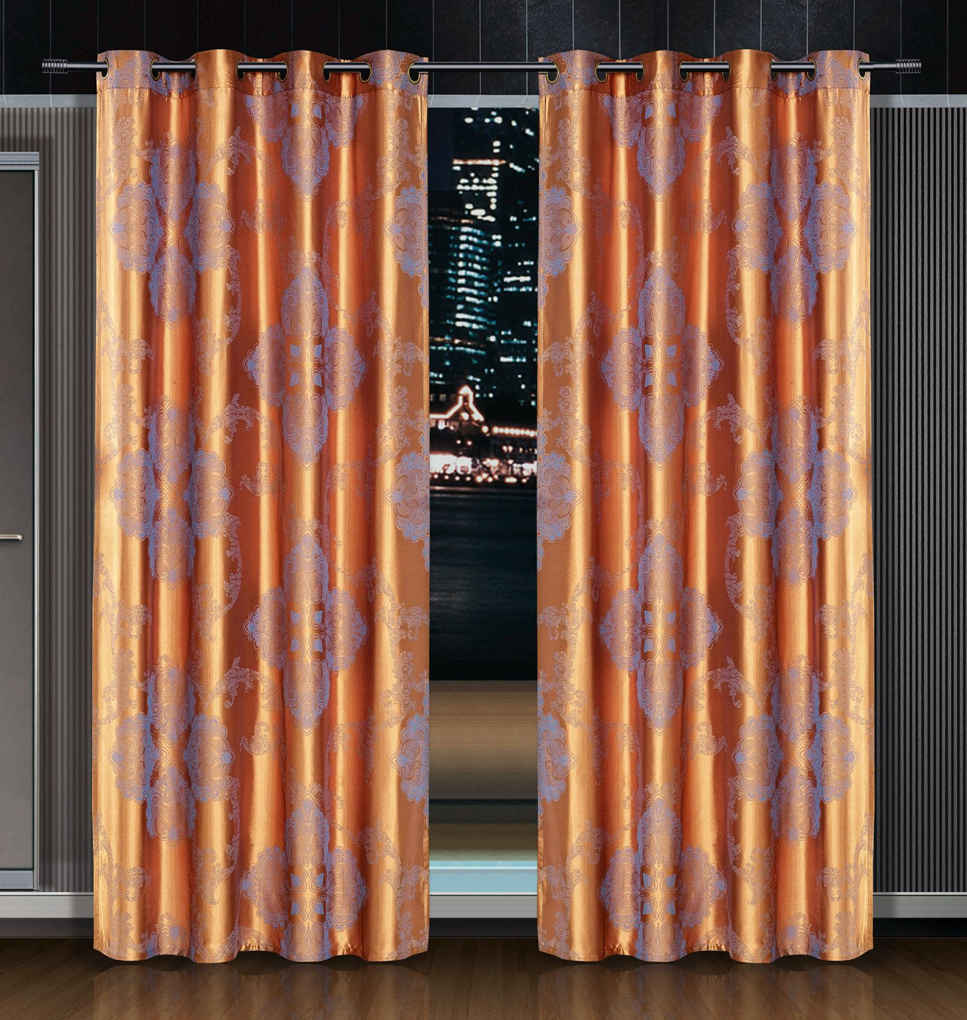 Freya Dolce Mela Damask Window Treatments Single Panel
