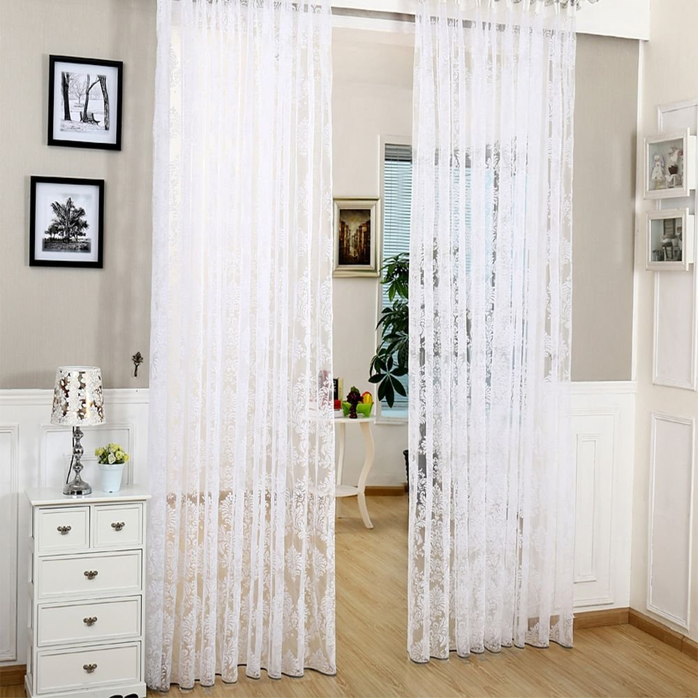 utopia window com panel curtains white inches panels bedding thread set premium dp voile by curtain sheer luxurious amazon high
