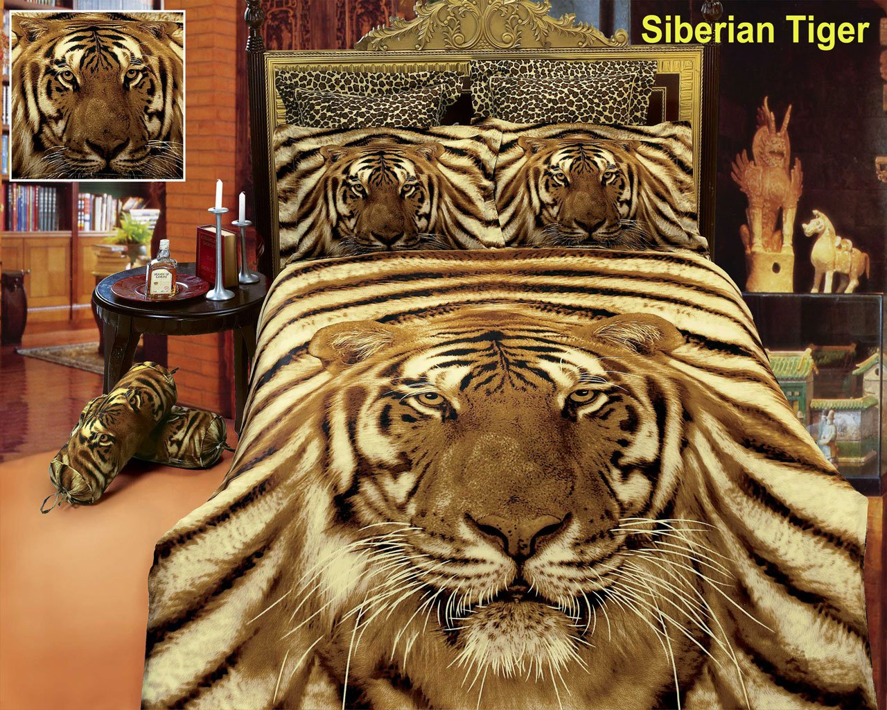 Siberian Tiger By Dolce Mela 6 Pc Duvet Cover Set Bed In
