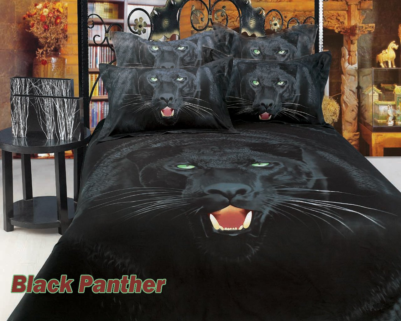 Black Panther By Dolce Mela 6 Pc Queen Size Duvet Cover