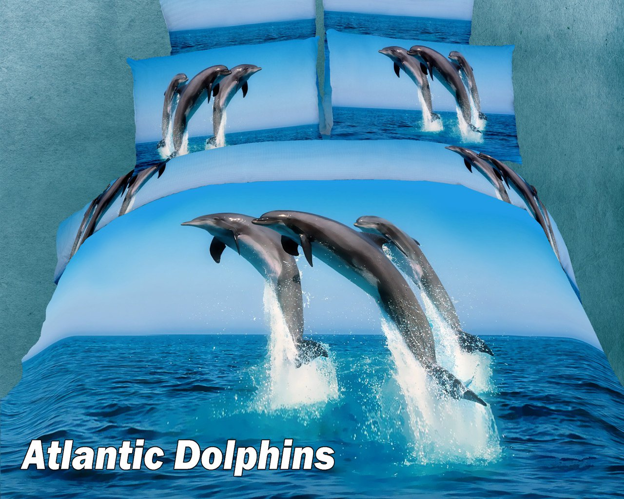 Atlantic Dolphins by Dolce Mela, 4-PC Twin Size Duvet Cover Set in a ...