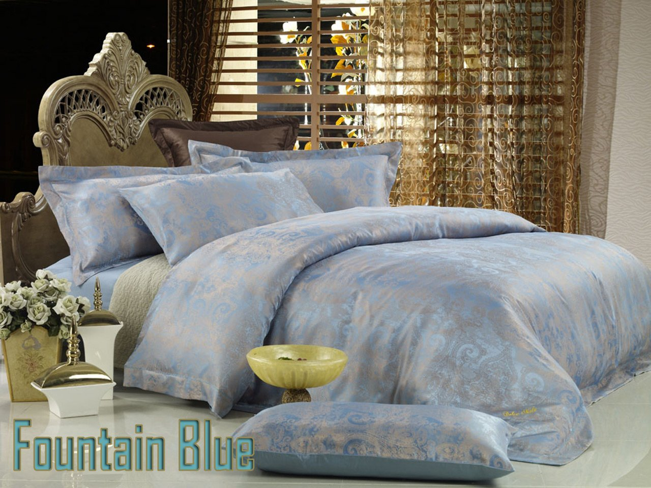 Fountain Blue By Dolce Mela 6 Pc King Size Egyptian