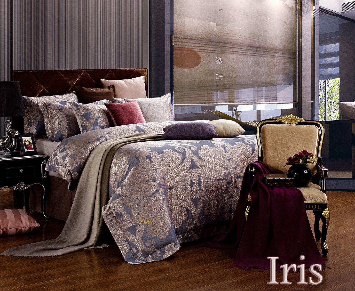 Iris By Dolce Mela 6 Pc Queen Size Duvet Cover Set Luxury