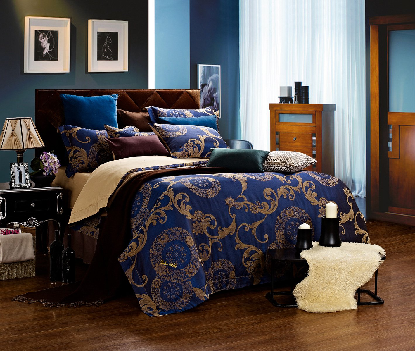 Must See Stunning 6 Pc Solid Mahogany Antique Drexel: Venus By Dolce Mela, 6-PC Queen Size Duvet Cover Set