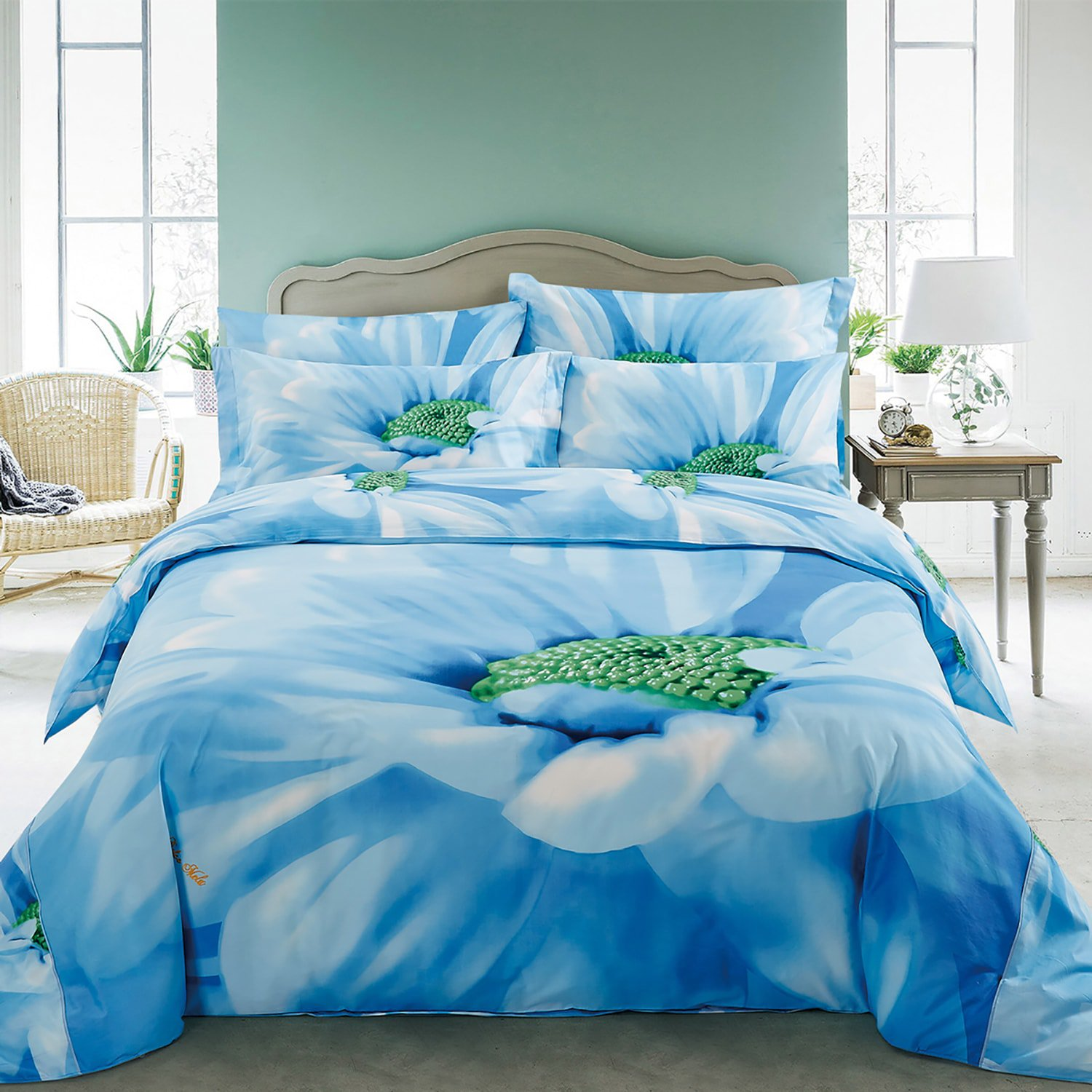 Azure By Dolce Mela Bedding Luxury Floral Cotton King Size