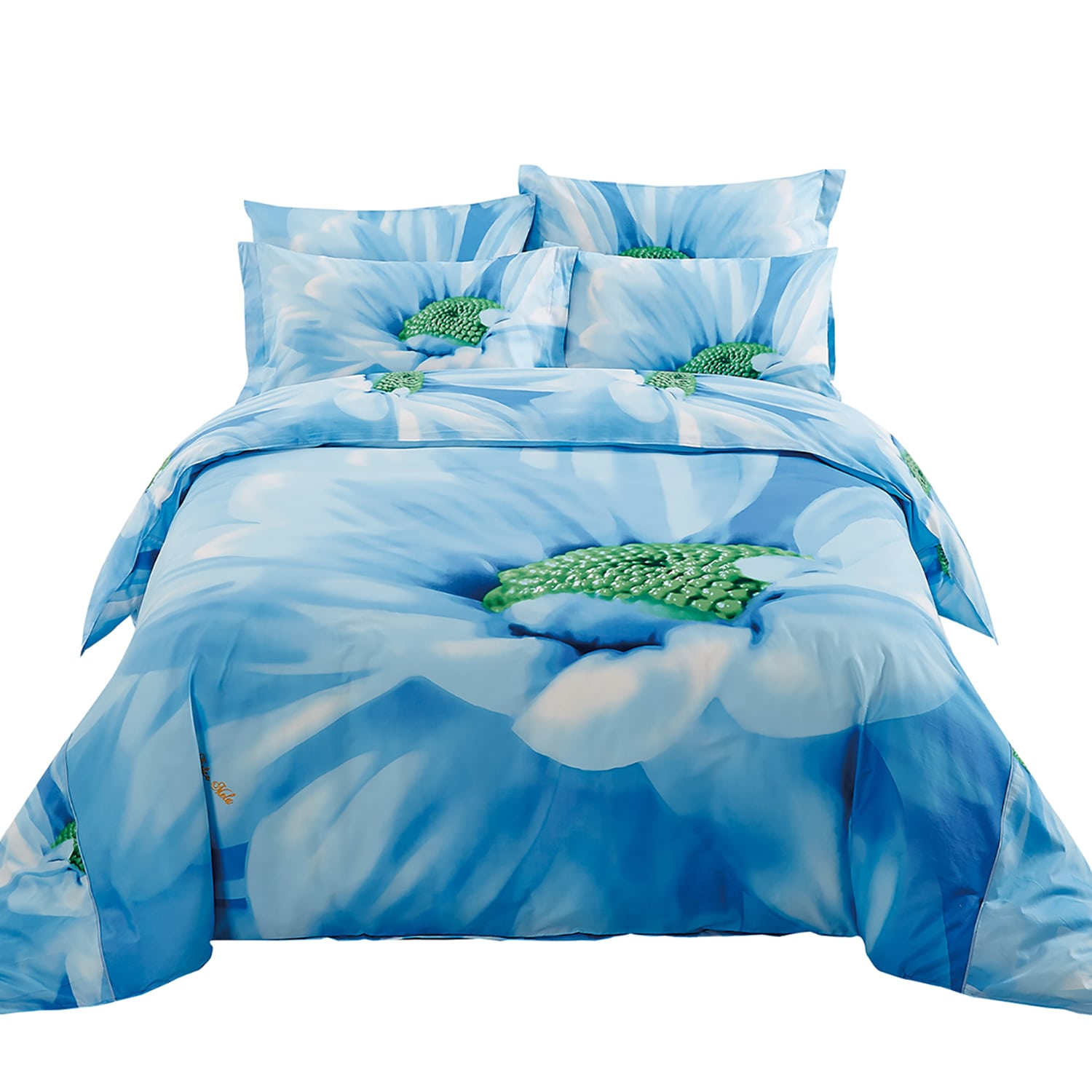 Azure By Dolce Mela Bedding Luxury Floral Cotton King Size 6 Piece ...