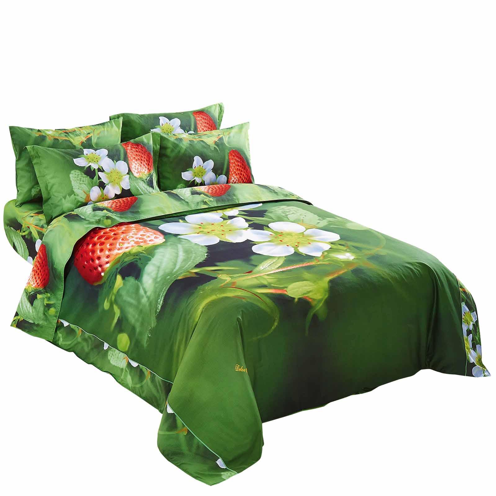 Dolce Mela - Strawberry Queen Size 6 Piece Duvet Cover Sheet Set Nature Themed Luxury Bedding DM512Q