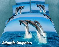 Atlantic Dolphins by Dolce Mela, 4 PC's Twin Size Duvet Cover Set in a Beautiful Dolce Mela Gift Box DM425T