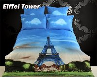 Eiffel Tower by Dolce Mela, 6-PC King Size Duvet Cover Set in a Beautiful Dolce Mela Gift Box DM429K