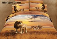 African Lions by Dolce Mela, 6-PC Queen Size Duvet Cover Set in a Beautiful Dolce Mela Gift Box