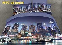 NYC at night by Dolce Mela, 6-PC King Size Duvet Cover Set in a Beautiful Dolce Mela Gift Box