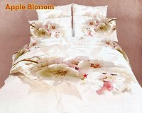 Apple Blossom by Dolce Mela, 6-PC Queen Size Duvet Cover Set in a Beautiful Dolce Mela Gift Box