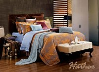 Hathor by Dolce Mela, 6-PC King Size Duvet Cover Set Luxury Linen Bedding Set in Beautiful Gift Box