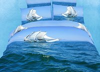Bon Voyage by Dolce Mela, 4pc Twin Duvet Cover Set with Sail Boat Sailing on the Caribbean Blue Waves in Dolce Mela Gift Box, DM482T