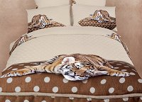 Sleepy Tiger - Dorm Room Bedding Extra Long Twin Animal Print Duvet Cover Set by Dolce Mela, DM485T