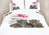 Baby Leopards - Dorm Room Bedding Extra Long Twin Animal Print Duvet Cover Set by Dolce Mela, DM486T