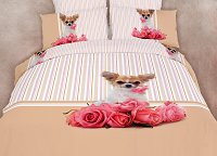 Cutie Pie - Dorm Room Bedding Extra Long Twin Cute Dog Print Duvet Cover Set by Dolce Mela, DM487T