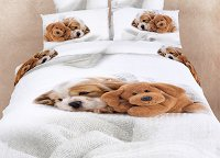 Doggies - Dorm Room Bedding XL Twin Cute Dogs Animal Print Duvet Cover Set by Dolce Mela, DM488T