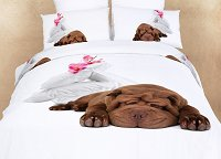 Sleepy - Dorm Room Bedding XL Twin Fun Dog Print Duvet Cover Set by Dolce Mela, DM489T