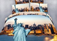 Statue of Liberty - NYC City Themed XL Twin Size Bedding Duvet Cover Set by Dolce Mela, DM492T
