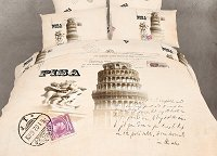 Pisa - Novelty Bedding Twin Size 4 Piece Duvet Cover Set, Dolce Mela, DM494T