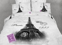 Eiffel - Novelty Bedding Twin Size 4 Piece Duvet Cover Set, Dolce Mela, DM495T
