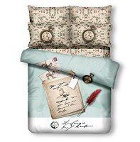 Twin Size 4 Piece Duvet Cover Sheets Set, Clocks