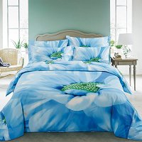 Azure, Floral Bedding Luxury Queen Size Duvet Cover Set - Dolce Mela