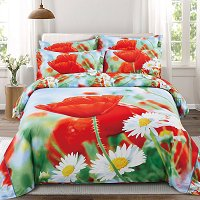 Fleurs Duvet Cover Set, Queen Size Floral Bedding - Dolce Mela