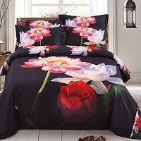 Lotus Duvet Cover Set, Queen Size Floral Bedding - Dolce Mela