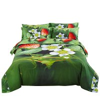 Nature Duvet Cover Set, Queen Bedding, Strawberry - Dolce Mela