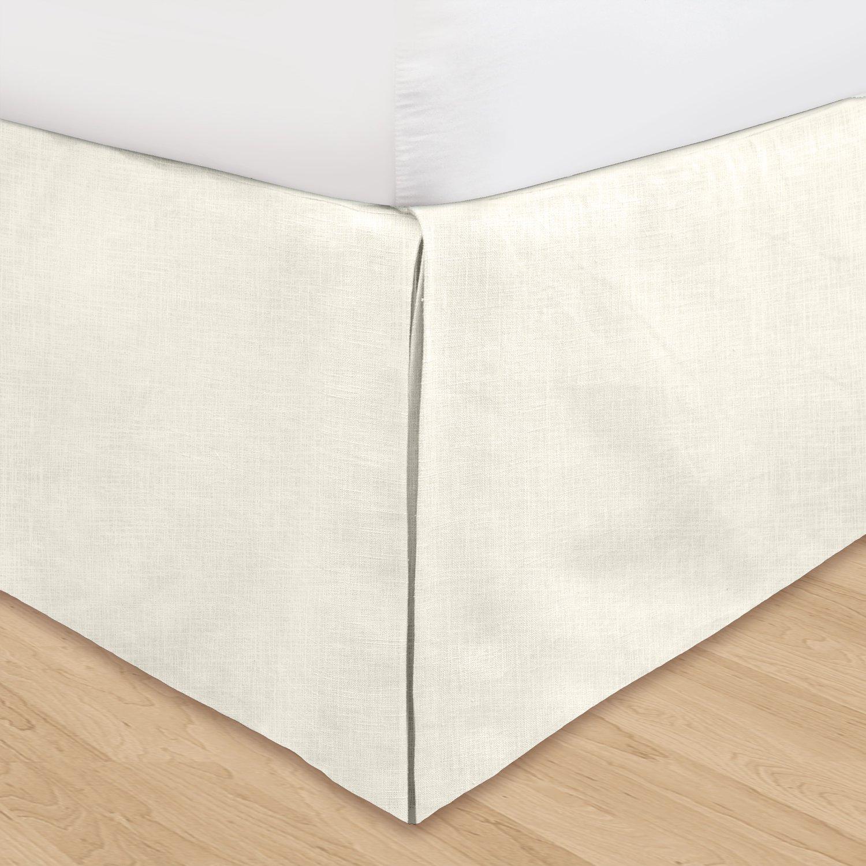 Pearl In Cal King Or Queen Linen Bed Ruffle Adjustable Drop