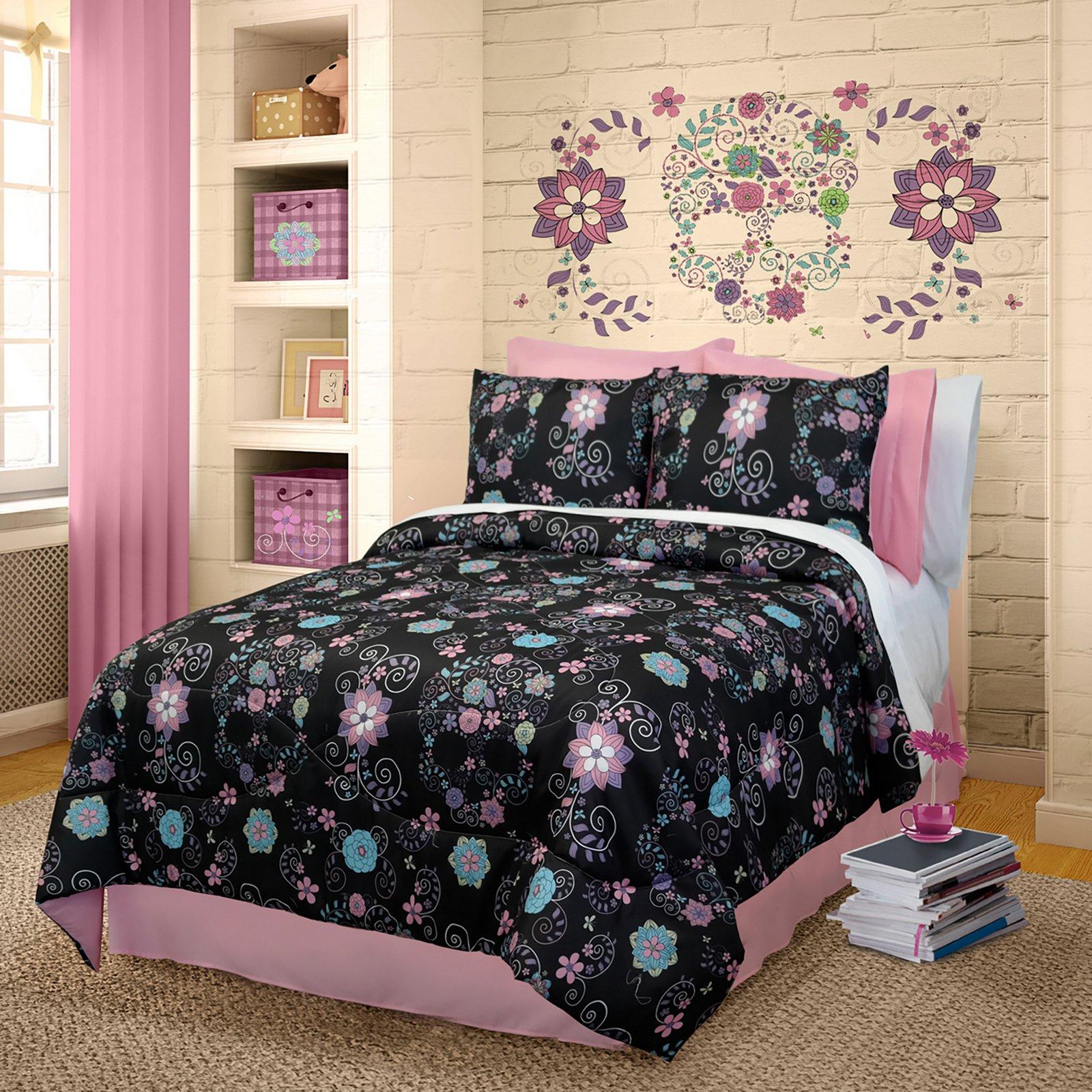 Black Comforter Set In Twin Full Or Queen Rainbow Skulls
