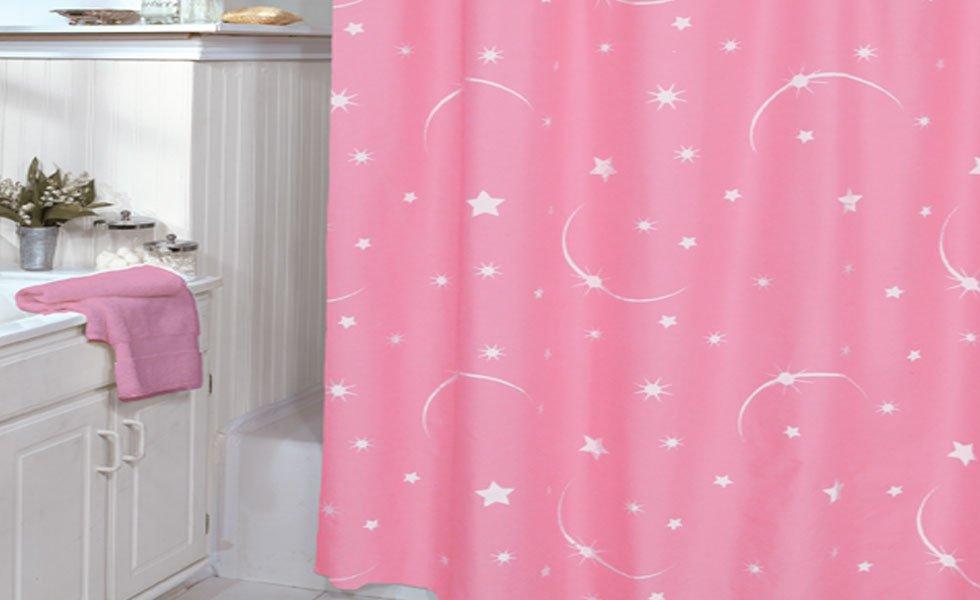 Pink Shower Curtain Stellar Moon And Star
