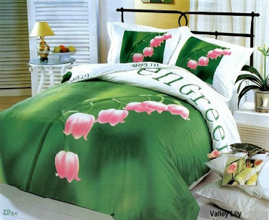 Duvet Cover Set with Prints of Lilies on Green Setting and White on Reverse