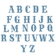 Set of wall decals of blue capital letters arranged in alphabetical order.