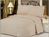 Odessa Beige, Beige Colored Light Fabric Bedcover with Tufted Abstract Flowery Designs by Le Vele, 3-PC Queen Size Bedspread