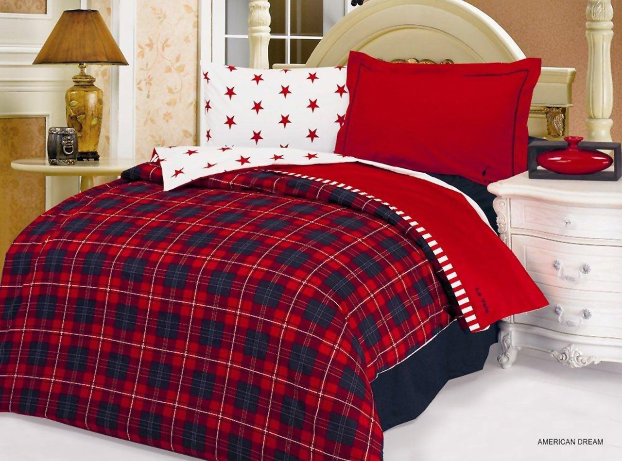 American Dream 4 Pc Twin Size Duvet Cover Set By Le Vele