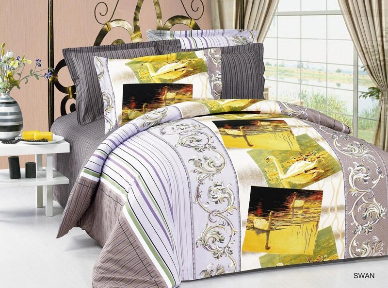 Swan 6 Pc Full Queen Size Bedding Ensemble Pictures Of