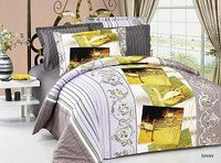 Swan, 6-PC Full-Queen Size Bedding Ensemble, Pictures of Swans are Printed on a White Colored Background that Reverses to a Grey Print, Duvet Cover Set