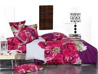 Wish, Beautiful Pink Roses on Dark Purple and White Background, 4-PC Full-Queen Duvet Cover Set