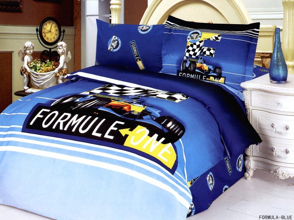 Race Car Twin Bed: Formula Blue, Boys Bedding Featuring A Formula One Racing
