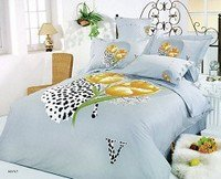 Hayat, 6-PC Full-Queen Size Bedding, Floral Prints of Gold Poppies On Lt. Grey Backdrop and Black & White Leaf Watermarks Duvet Cover Set