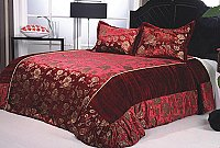 Jade 2, 3-PC Velour Bedspread Set, fits both Queen & King, Bedspread Set (Quilt & Pillow Shams) in Solid Red Wine color with Gold Ornate