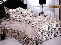 Jade 3, 3-PC Velour Bedspread Set, fits both Queen & King, Bedspread Set (Quilt & Pillow Shams) in Solid Off-White color with Gold Ornate