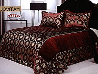 Jovita 1, 3-PC Velour Bedspread Set, fits both Queen & King, Bedspread Set (Quilt & Pillow Shams) in Solid Red Wine color with Gold Ornate