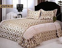 Jovita 2, 3-PC Velour Bedspread Set, fits both Queen & King, Bedspread Set (Quilt & Pillow Shams) in Solid Off-White color with Gold Ornate