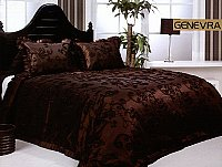 Genevra, 3-PC Satin Bedspread Set, fits both Queen & King, Bedspread Set ( Quilt & Pillow Shams) in Exquisite Deep Chocolate Brown Backdrop with Embroidery of Flowers Bedspread Set